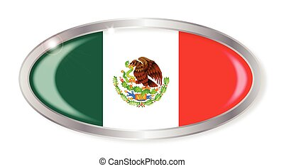 Mexico Flag Oval Button - Oval silver button with the...