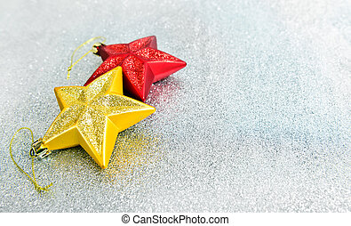 Christmas decoration on glitter background