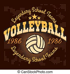 Volleyball championship logo with ball - vector...
