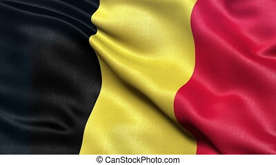 Flag of Belgium seamless loop - Realistic flag of Belgium...