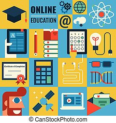 E-learning - Illustration of e-learning concept flat design...