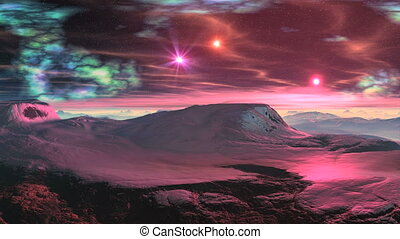 Sunrise pink stars on a snowy plane - Mountain plateau...