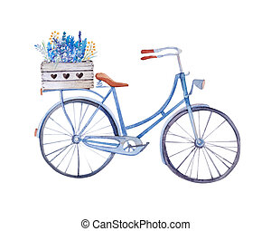 Watercolor vintage  bicycle with box of flowers.