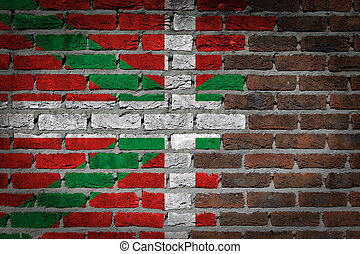 Dark brick wall - - Dark brick wall texture - flag painted...