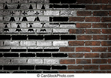 Dark brick wall - Brittany - Dark brick wall texture - flag...
