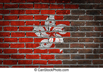 Dark brick wall - Hong Kong - Dark brick wall texture - flag...