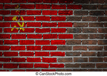 Dark brick wall - USSR - Dark brick wall texture - flag...