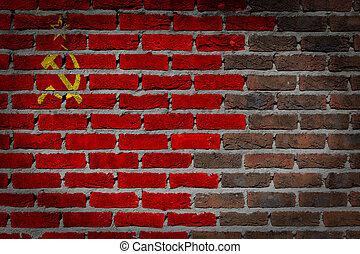 Dark brick wall - USSR - Dark brick wall texture - flag...