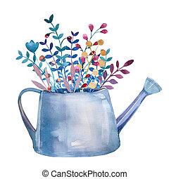 acquarello,  set, rustico, vaso, Mazzolini, floreale, fiori