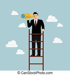 Businessman search in business strategy on the ladder