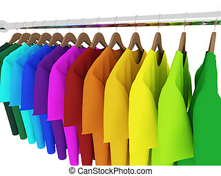 colorful t-shirts with hangers