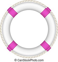 Life buoy in white and purple design with rope around on...
