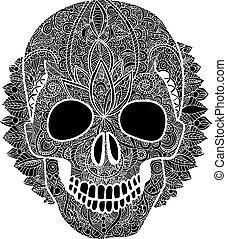 Vector skull tatoo day of the dead illustration
