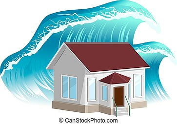 House flooding Property insurance Isolated on white vector...