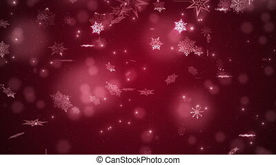 Red beautiful falling snowflakes