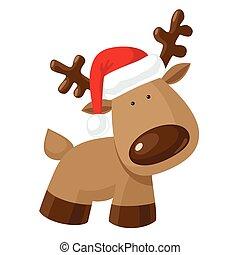 Reindeer in Santa`s hat - Christmas reindeer standing in...