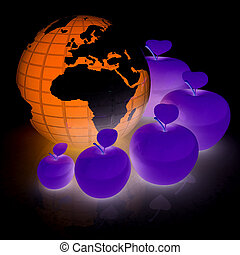 Earth and apples around - from the smallest to largest. Global dieting concept