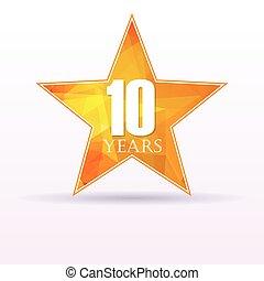 Star background anniversary 10 - Background with orange star...
