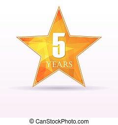 Star background anniversary 5 - Background with orange star...