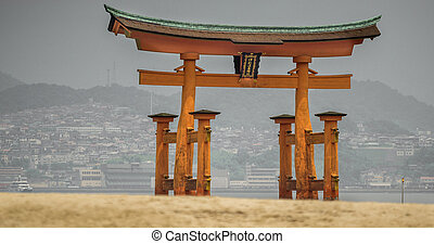 Miyajima, Floating Torii gate in Japan.