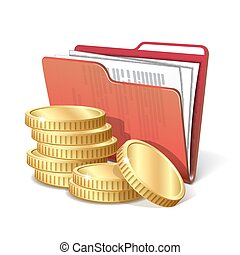 Stack of gold coins next to folder with documents