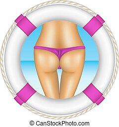 Life buoy with sexy bum of woman in purple bikini as beach...