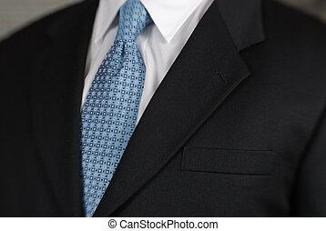 homem negócios, pescoço, laço, detalhe
