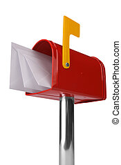 Mailbox with flag - A standard red mailbox with mail and...