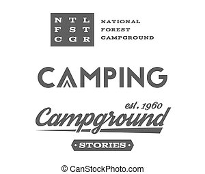 Set of retro camping badges and label logo graphics. Campground, mountain emblems, travel insignia. Monochrome vintage design. Family forest campsite, equipment shop etc. Vector