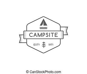 Vintage forest camping badge, outdoor logo, emblem and label...