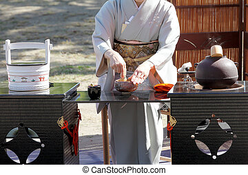 Japanese green tea ceremony - KAGAWA, JAPAN - OCTOBER 25,...