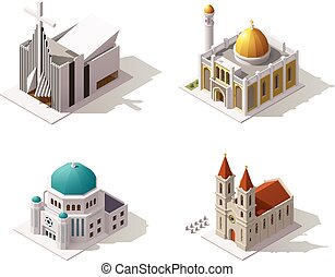 Vector isometric places of worship - Vector isometric...