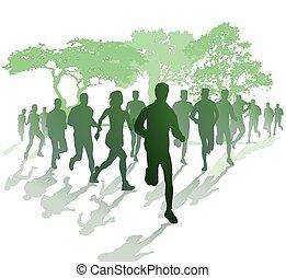 Marathonlauf im Park.eps - Marathon running in the park