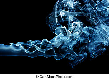 Blue smoke - Puff of a blue smoke spreading horizontally,...