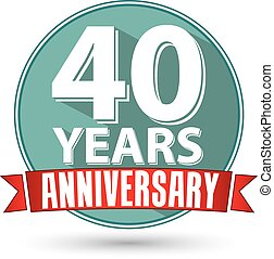 Flat design 40 years anniversary label with red ribbon,...