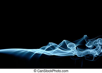 Blue smoke spreading horizontally, isolated over black
