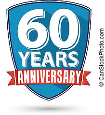 Flat design 60 years anniversary label with red ribbon,...