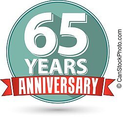 Flat design 65 years anniversary label with red ribbon,...