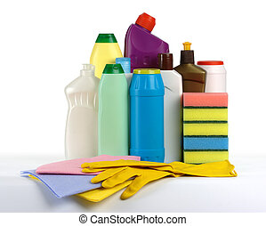 Kitchen cleaning kit - plastic bottles with liquids,...