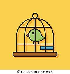 gaiola, pássaro, ícone