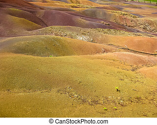 Chamarel Mauritius island - Close up of colored Seven Earths...
