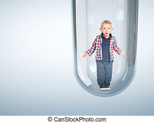 caucasian baby in test tube 3d - surprised child and tube...