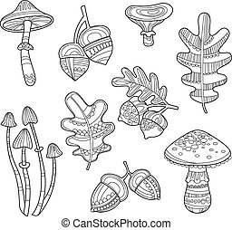 Black and White Acorns, Leaves, Berries, Handdrawn Style....
