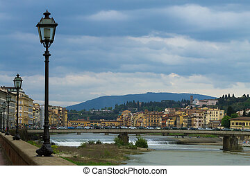 Florence panorama - A view from Florence, Arno river,...