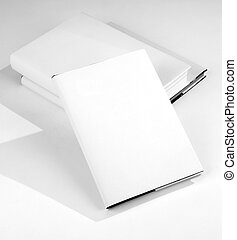 Three Blank book cover white