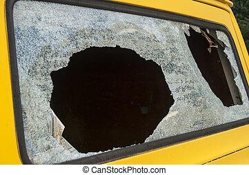 Broken rear van window