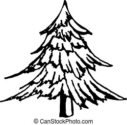 hand draw a Christmas tree in the style of a sketch, for...