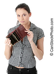 Broke - Young caucasian woman with wmpty wallet - broke