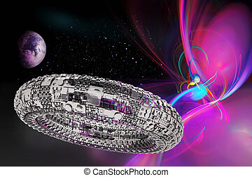 Fictional universe with space ship - Illustration of a...