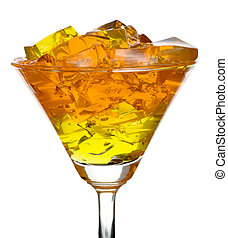 Jelly in glass - Colourful jelly in glass, isolated over...
